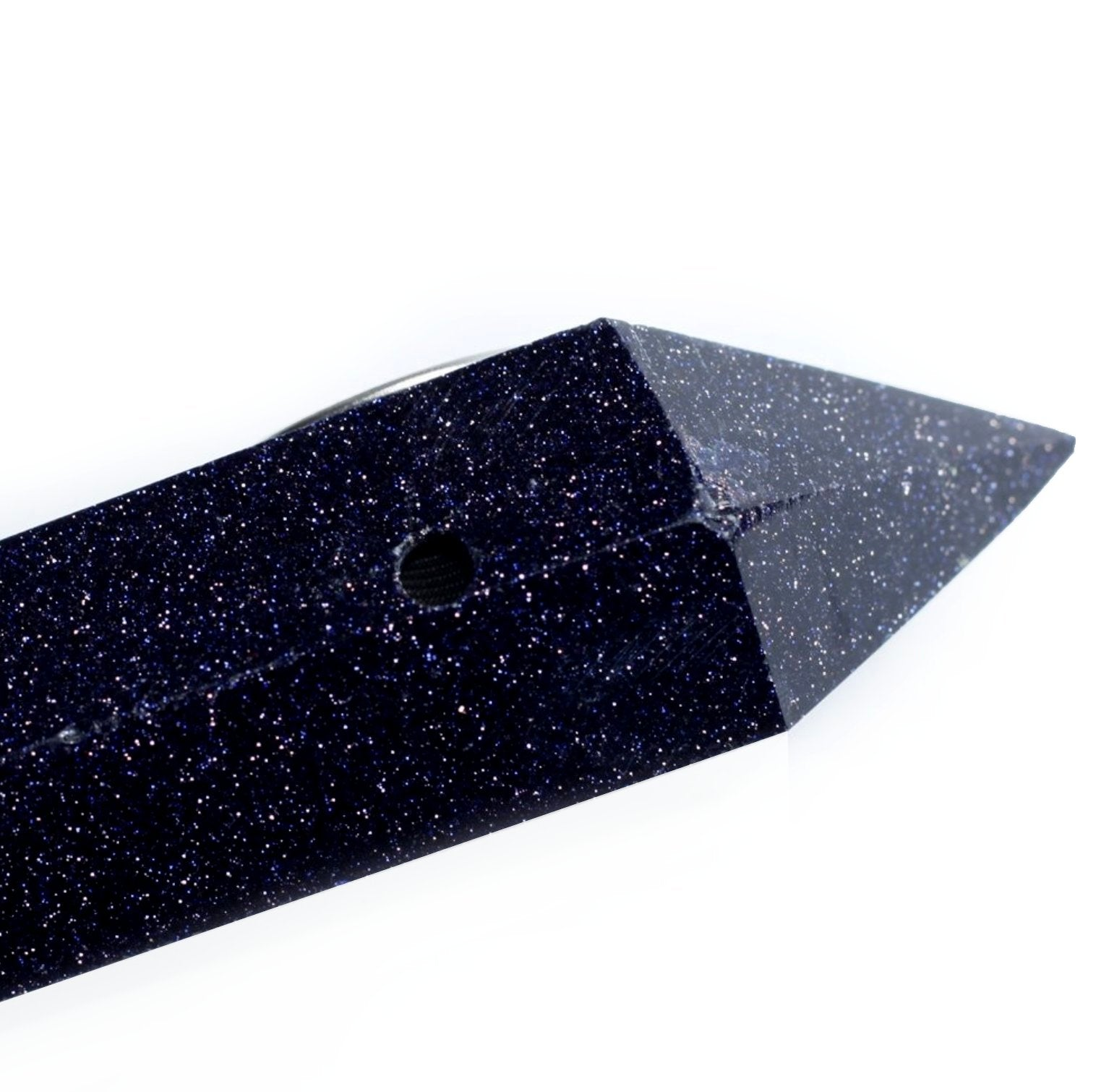 Blue Goldstone Night Sky Crystal Pipe • Quartz Crystal Healing Bowl - lucidskins