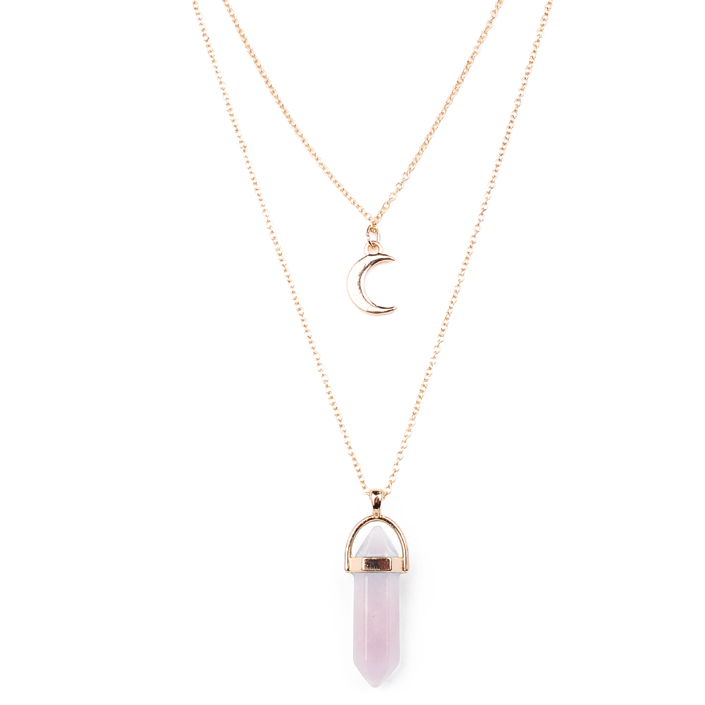 Luna • Double Moon Crystal Choker Gold Layer Necklace - lucidskins