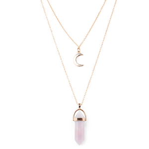 Luna • Double Moon Crystal Choker Gold Layer Necklace