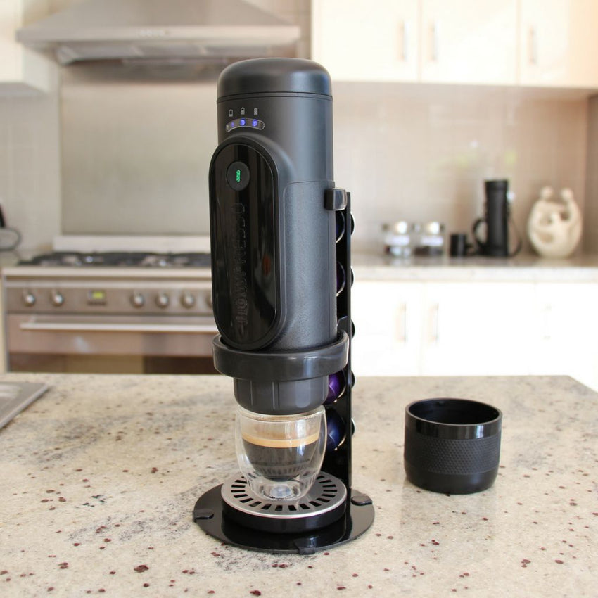 NowPresso Portable Espresso Machine Stand in kitchen at home