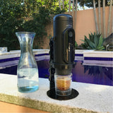 NowPresso Portable Espresso Machine Stand making Iced Coffee with own espresso glass