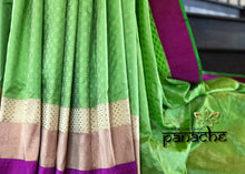 Pure Silk Tanchoi Benarasi - Green Orange with Silver Zari Flower