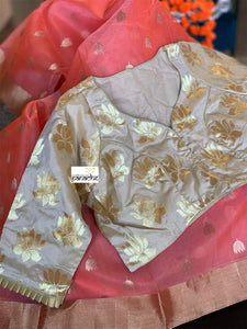 Designer Blouse - Golden Beige Lotus
