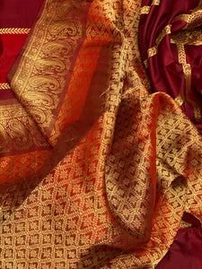 Pure Katan Silk Banarasi Exclusive - Maroon Burn Red Antique Zari
