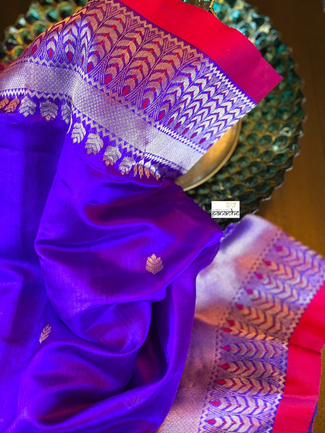 Pure Chanderi Silk - Purplish Blue Red