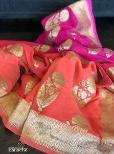 Khaddi Georgette Banarasi - Shaded Orange Purple