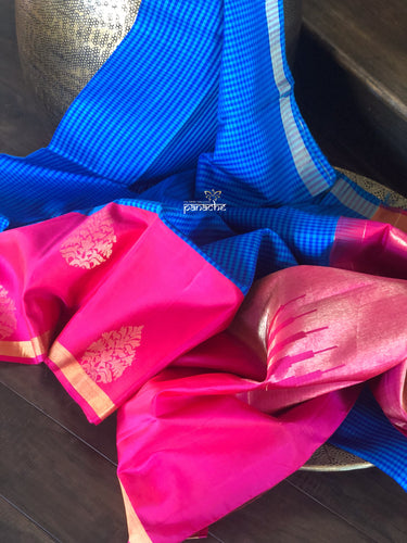 Silk Kanjivaram - Royal Blue Checkered Hot Pink