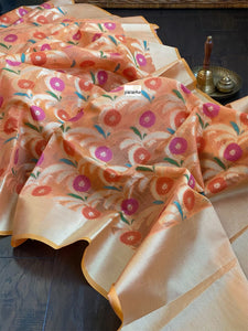 Kora Cotton Silk Saree - Tangerine Meenakari