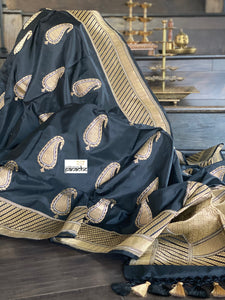 Pure Katan Silk Banarasi - Black Zari Paiesley