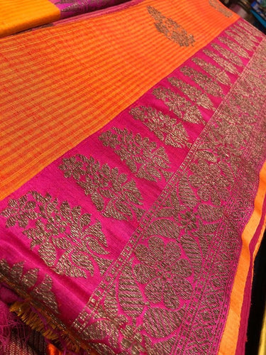 Tassur Silk Banarasi - Orange Magenta