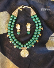 Jewelry- Antique Gold Green Beaded Set