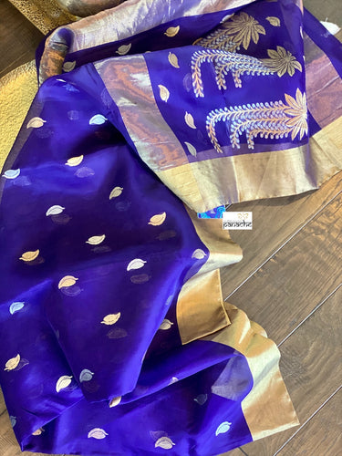 Chanderi Katan Silk - Purple Silver Golden Zari