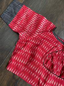 Designer Blouse - Red Black Ikat