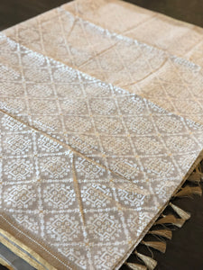 Pure Tissue Kora Silk Banarasi - White Golden Antique Zari
