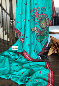 Designer Tussar Gicha Silk - Teal Green Peacock embroidered
