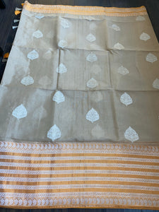 Organza Silk Banarasi - Tan Beige Orange Kadwa Motifs