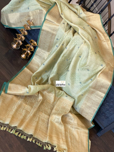 Muga Silk Banarasi - Pista Green Embroidered