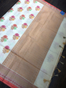 Cotton Silk Chanderi - Offwhite Meenakari