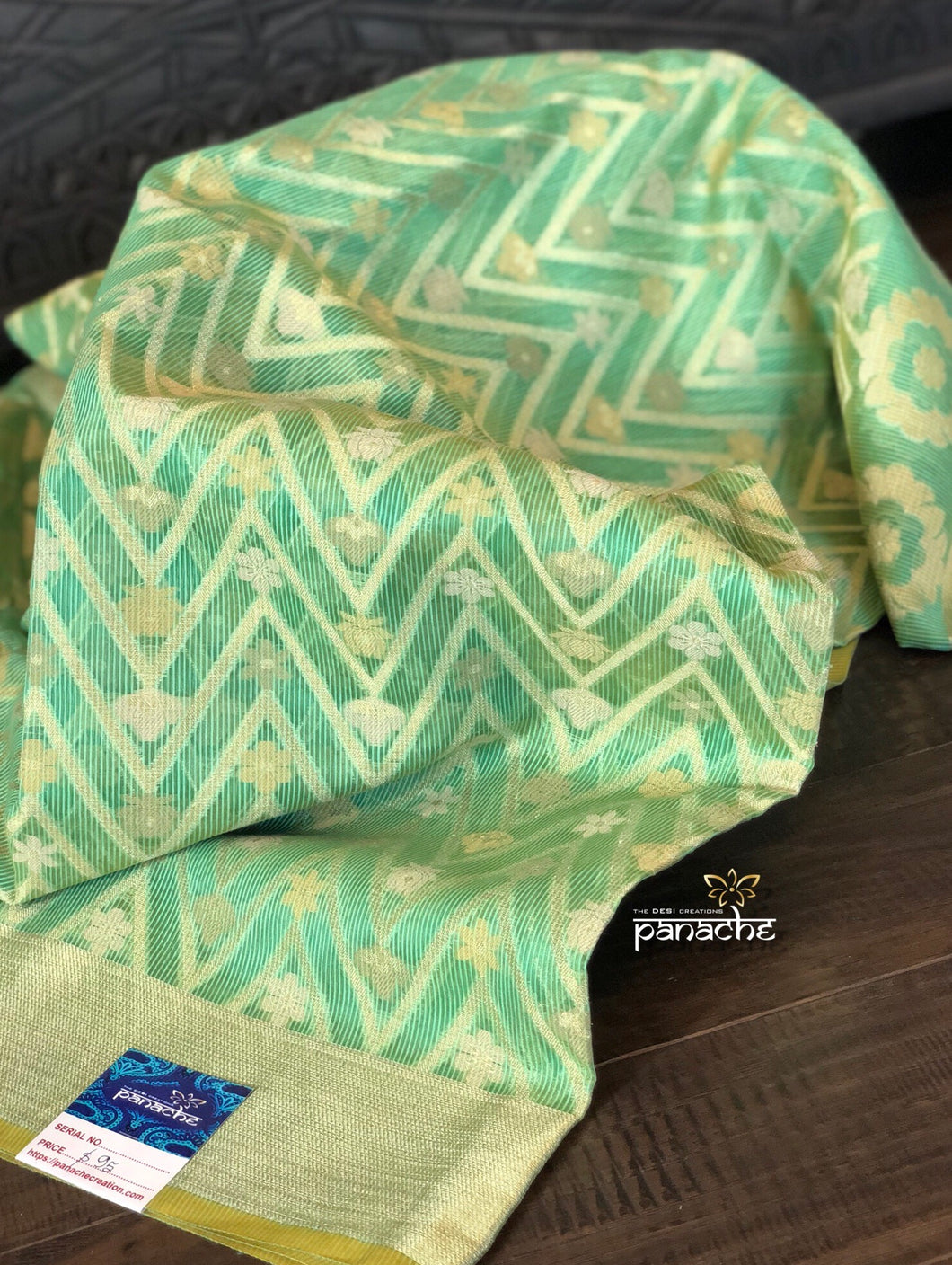 Cotton Silk Chanderi - Green Zari Woven