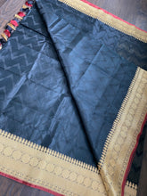 Organza Silk Banarsi - Black Golden Antique Zari