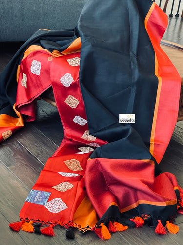 Silk Cotton Banarasi - Black Red Orange