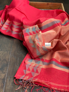 Pure Khadi Cotton Handloom - Red Blue Woven