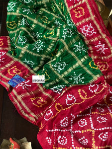 Pure Gajji Silk Gharchola - Green  Red Bandhej