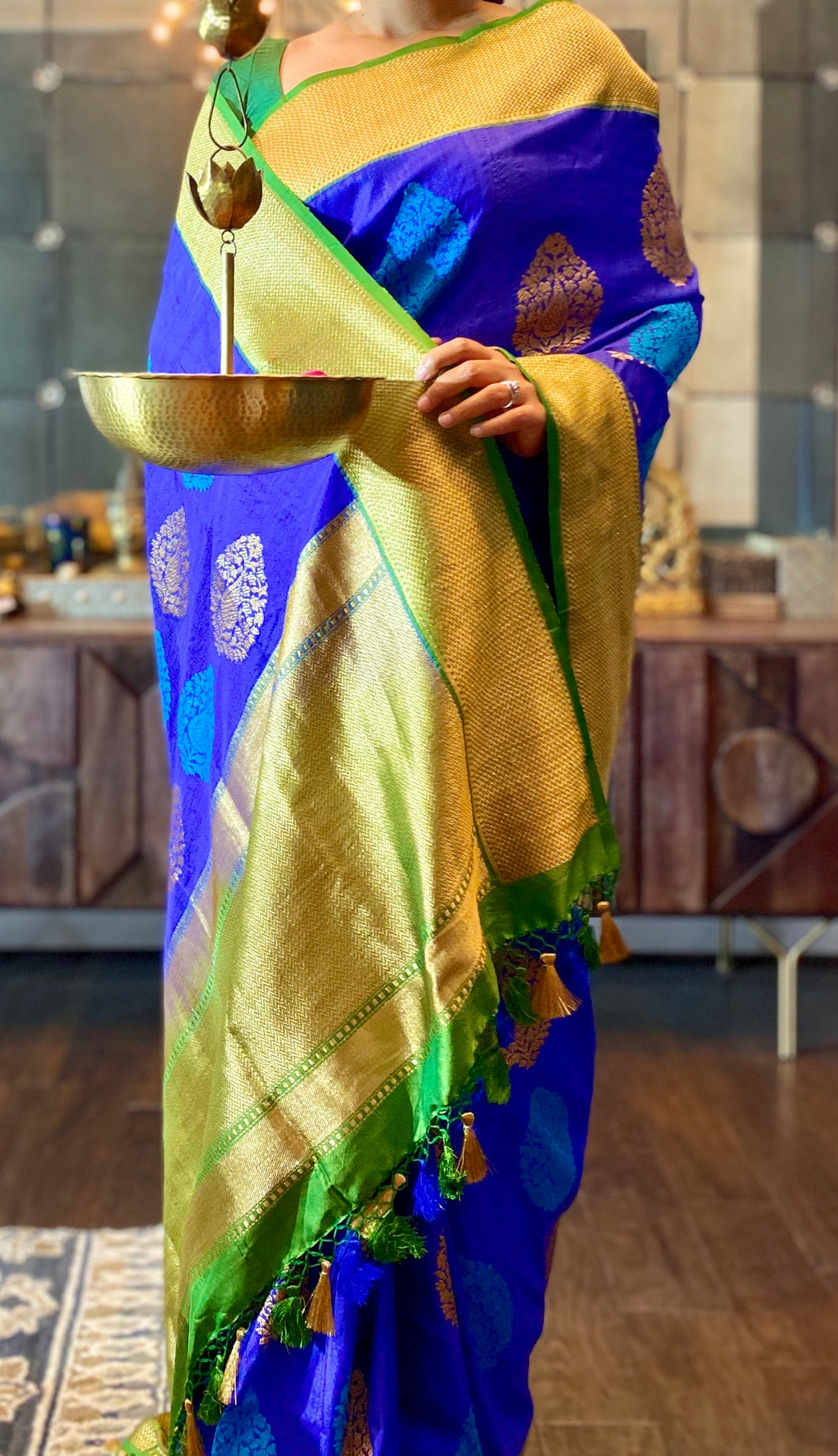 Pure Tassur Silk Banarasi - Royal Blue Green