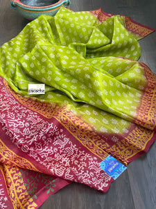 Pure Murshidabad Silk - Lime Green Printed