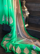 Designer Chiffon - Green Mocha Brown Shaded