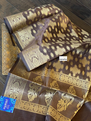Silk Cotton Dupatta - Brown Golden Zari