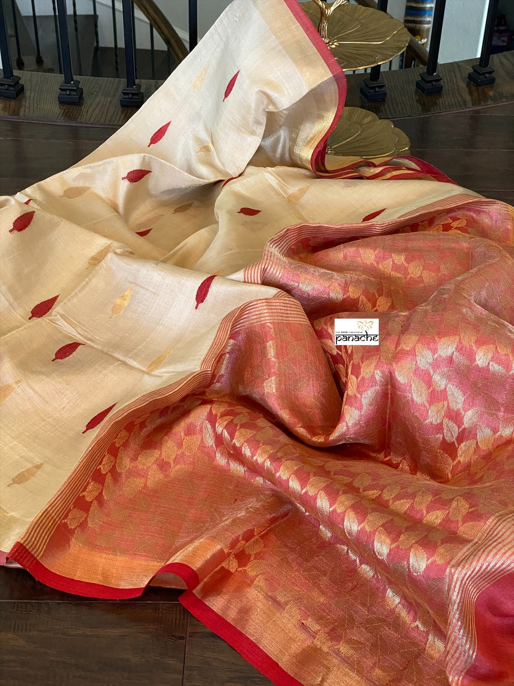 Tissue Tussar Silk - Offwhite Red Golden Zari