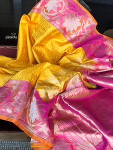 Silk Banarasi - Yellow Pink Chevron Woven