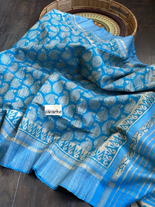 Tussar Gicha - Light Blue Gicha Printed