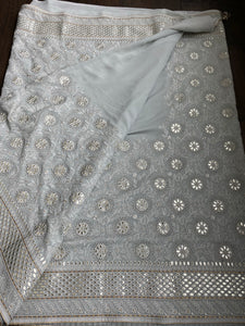 Designer Pure Georgette Chikankari - Light Grey
