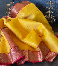 Pure Chanderi Katan Silk - Yellow Red