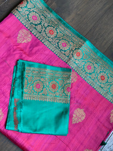 Tussar Silk Banarasi - Shot Magenta SeaGreen Antique Golden Zari