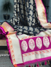 Silk Banarasi - Black Purple Antique Zari