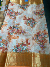 Chiniya Silk Banarasi Floral - Peach Orange Zari checks