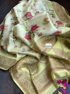 Chiniya Silk Banarasi Floral - Lemon Yellow Golden Zari