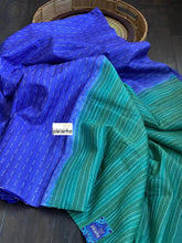 Tussar Silk -  Purplish Blue Green