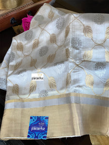 Pure Chanderi Katan Silk - Off White Jaal woven