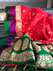 Katan Silk Banarasi - Red Green Purple