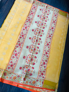 Kora Silk Paithani - Yellow Orange