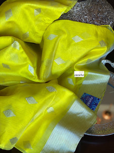 Pure Chanderi Silk - Lemon Yellow Silver Zari Woven