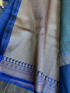 Tussar Silk Banarasi - Grey Blue