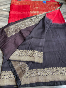 Tussar Georgette Banarasi-  Black Red Shaded Silver Golden Paisley