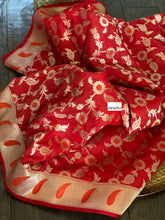 Designer Soft Silk Banarasi - Red Orange Meenakari