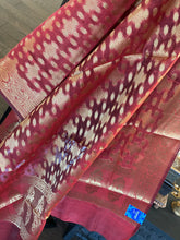 Silk Cotton Dupatta - Reddish Maroon Golden Zari