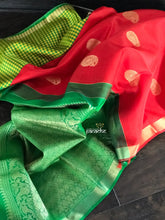 Pure Silk Kanjivaram - Red Green Paisley